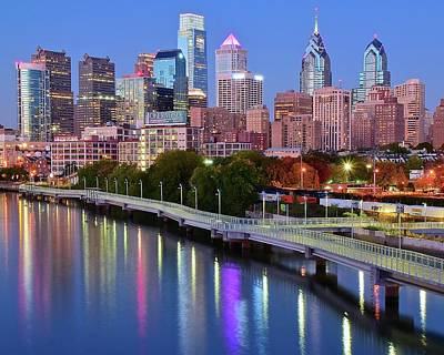 Poster featuring the photograph Blue Night Lights In Philly by Frozen in Time Fine Art Photography