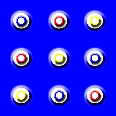 Blue Nine Squared Poster