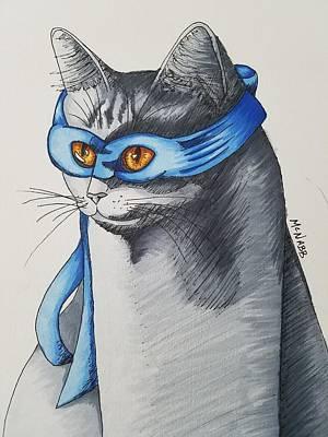 Blue Ninja Cat Poster