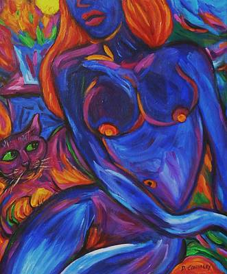 Poster featuring the painting Blue Nude And Pink Puss by Dianne  Connolly