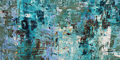 Poster featuring the painting Blue Ocean - Abstract Art by Carmen Guedez