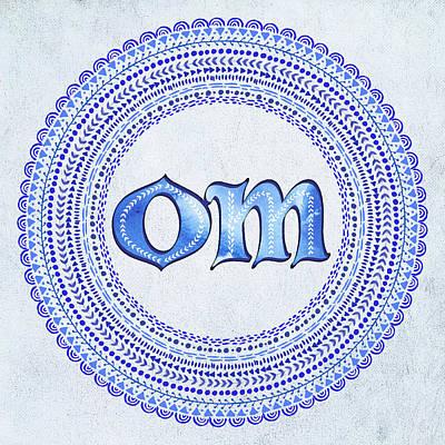 Blue Om Mandala Poster by Tammy Wetzel