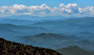 Blue On Blue - Great Smoky Mountains Poster