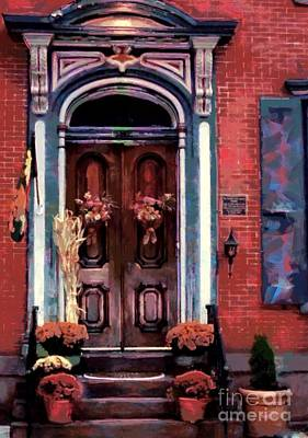 Blue On Brick - Jim Thorpe Autumn Door Poster by Janine Riley