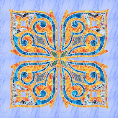 Blue Oriental Tile 02 Poster