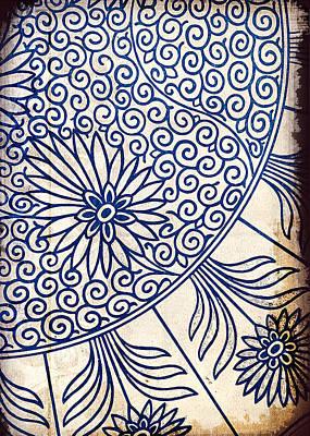 Blue Oriental Vintage Tile 01 Poster