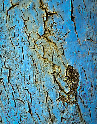 Blue  Paint Scratched The Iron Poster by Jozef Jankola