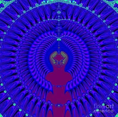 Poster featuring the digital art Blue Peacock Fractal 92 by Rose Santuci-Sofranko
