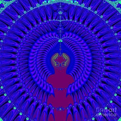 Blue Peacock Fractal 92 Poster