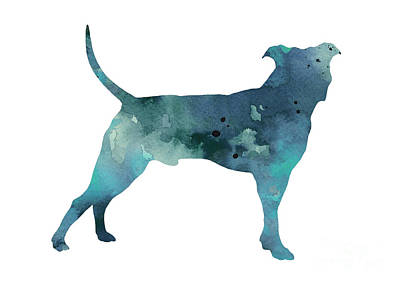 Blue Pit Bull Watercolor Art Print Painting Poster