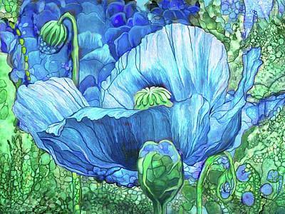 Poster featuring the mixed media Blue Poppy Garden by Carol Cavalaris