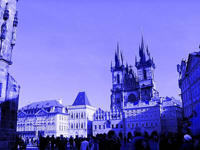 Poster featuring the photograph Blue Praha by Michelle Dallocchio