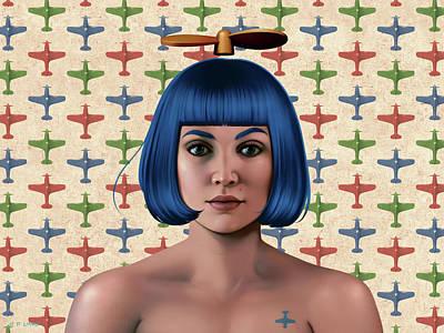 Blue Propeller Gal Poster