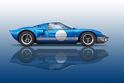 Blue Reflections - Ford Gt40 Poster