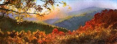 Poster featuring the painting Blue Ridge At Fall by Sergey Zhiboedov