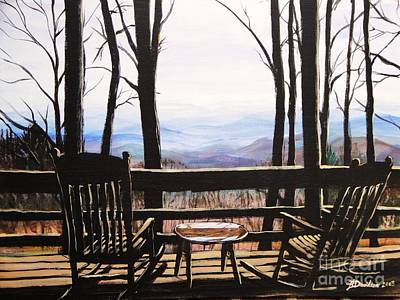 Poster featuring the painting Blue Ridge Mountain Porch View by Patricia L Davidson
