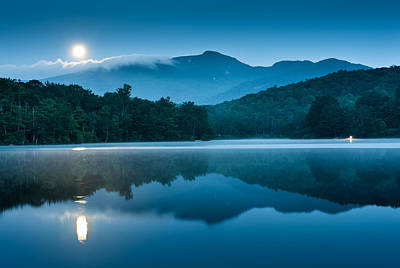 Blue Ridge North Carolina Full Moon Mountain Reflections Poster by Mark VanDyke