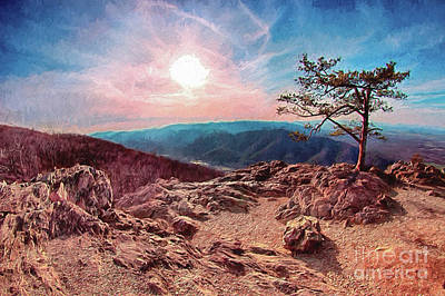 Poster featuring the digital art Blue Ridge Rocky Hilltop And Tree At Sunset Ap by Dan Carmichael