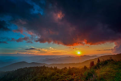 Poster featuring the photograph Blue Ridge Sunset by Joye Ardyn Durham