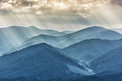 Blue Ridge Sunset Rays Poster