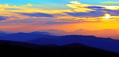 Blue Ridge Sunset, Virginia Poster by The American Shutterbug Society