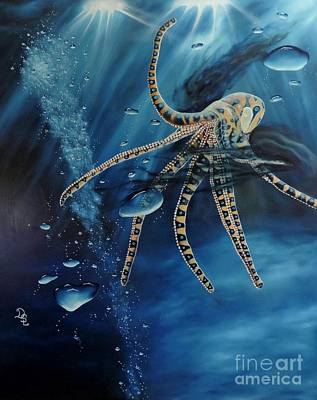 Blue Ring Octopus Poster
