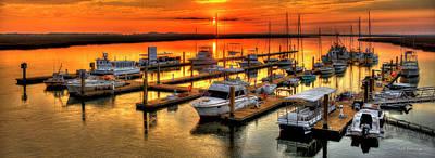 Blue River Marina Sunrise Panorama Art Poster