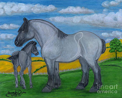 Blue Roan Mare With Her Colt Poster