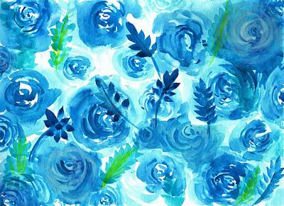Blue Rose Flower In Watercolor Painting Poster