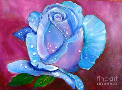 Blue Rose With Dew Drops Poster by Jenny Lee