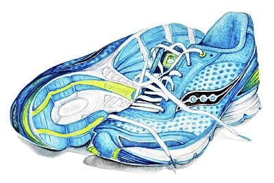 Blue Running Shoes Poster by Heidi Kriel
