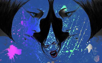 Poster featuring the digital art Blue Screamer by Greg Sharpe