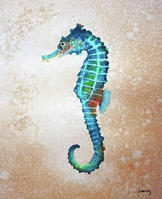 Blue Sea Horse Poster by Jeff Lucas