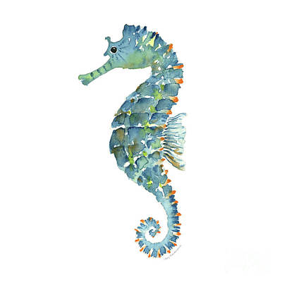 Blue Seahorse Poster by Amy Kirkpatrick