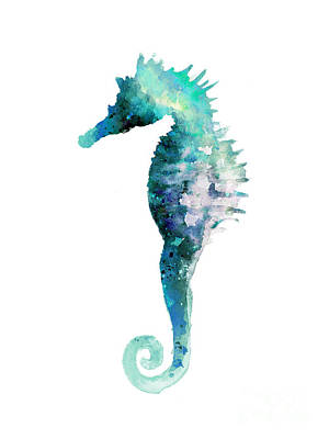 Blue Seahorse Watercolor Poster Poster by Joanna Szmerdt