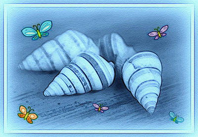 Blue Seashells Poster by Linda Sannuti