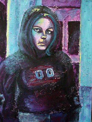 Blue Self Portrait Poster by Sarah Crumpler