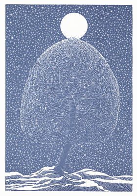 Blue Shadow Tree Poster