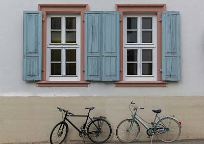 Blue Shutters And Bicycles Poster