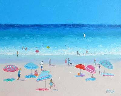 Blue Skies Beach Painting Poster by Jan Matson