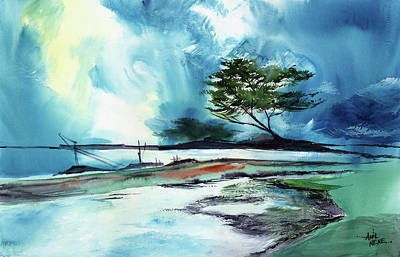 Poster featuring the painting Blue Sky by Anil Nene
