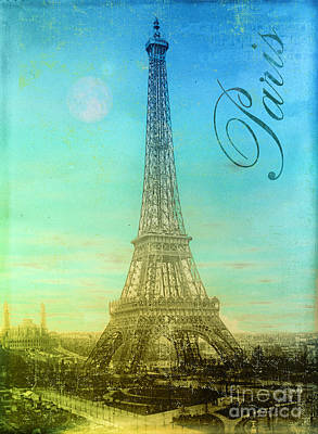 Blue Sky Eiffel Tower Poster by Mindy Sommers