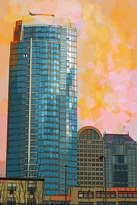 Poster featuring the photograph Blue Skyscraper Seattle by Yulia Kazansky