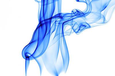 Blue Smoke Swirl On White Poster