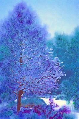 Blue Snow Scene Poster