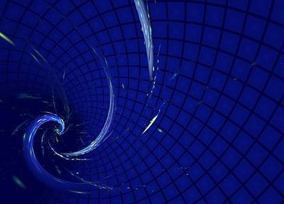 Blue Spiral On Checked Background Poster