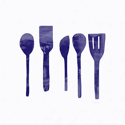 Blue Spoons- Art By Linda Woods Poster