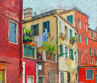 Blue-stripe Laundry Poster