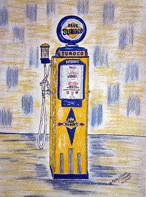 Poster featuring the painting Blue Sunoco Gas Pump by Kathy Marrs Chandler