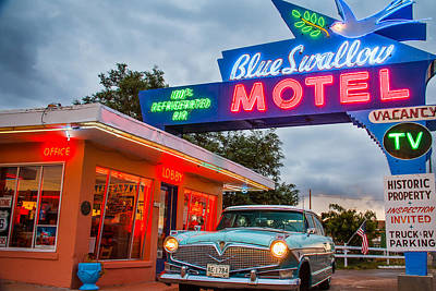 Blue Swallow Motel On Route 66 Poster by Steven Bateson